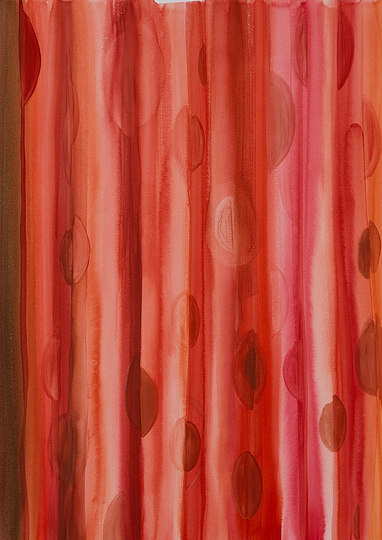 Curtains: Red, watercolour on paper