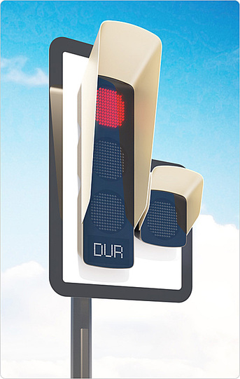 Traffic lights: The signal panels and displays are made of LED clusters. The back of the traffic light features an extra display, which, due to high contrast, improved the displays visibility against a busy cityscape.