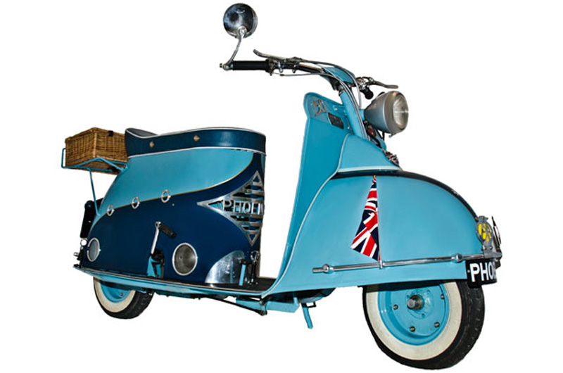 The fifties saw a whole slew of extravagant scooter designs: Mitsubishi Silver Pigeon, Fuji ...