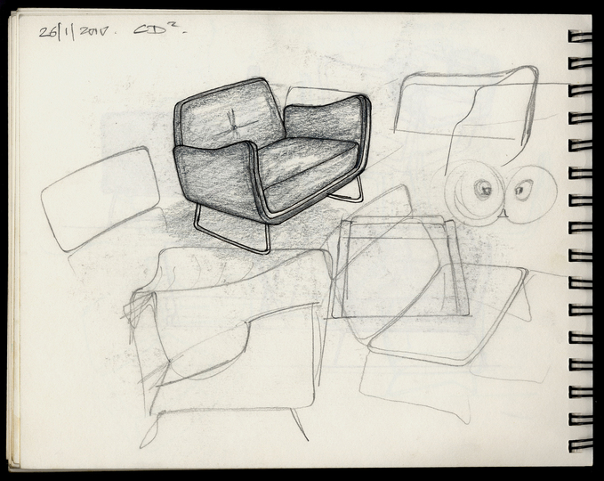 Sketches: Study for an arm chair