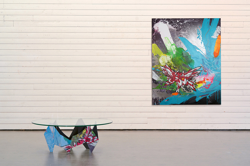 The Graffiti Table: Frederik Hasseldahl reworked one his paintings titled 'The rise of the phoenix' to wrap around Davidson metal work.