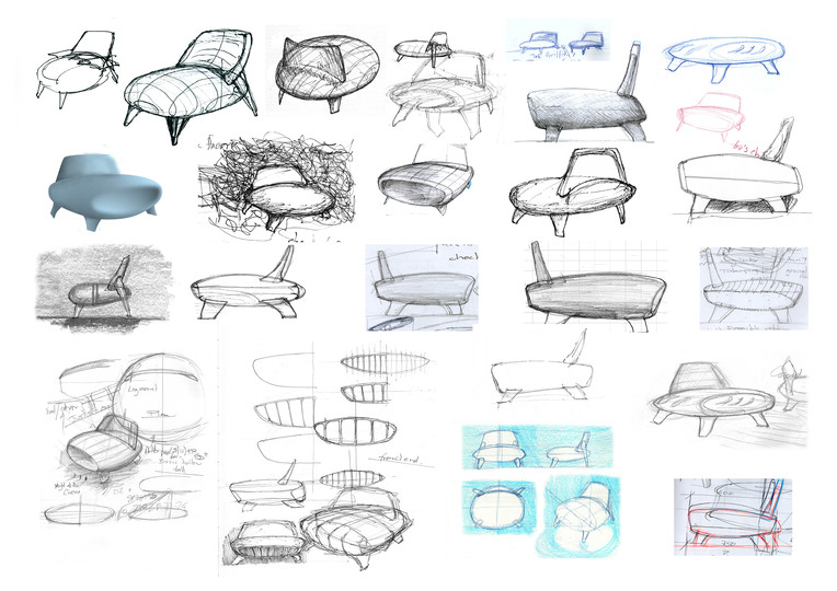 Sketches: Early sketches for the Lander Chair