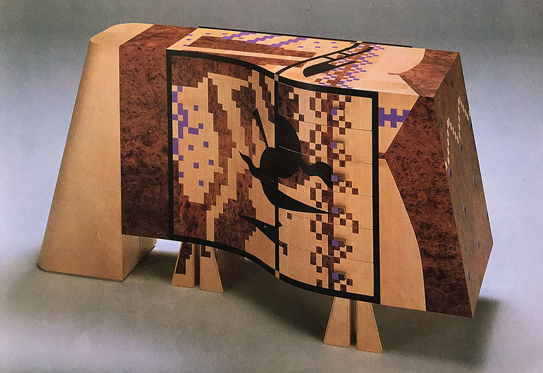 Alessandro Mendini 1931-2019: Marquetry chest of drawers, Alessandro Mendini
