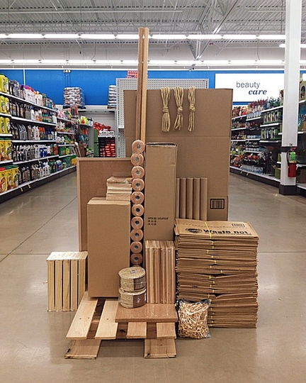 The 2015 best of penccil: American artist Carson Davis Brown has a slightly subversive and  poetic take on consumerism. He uses the vast spaces of supercenters to create instant sculptures with the goods on offer. These sculptures exist only for a short timespan -  until they are discovered and dismantled by supercenter employees. http://www.penccil.com/gallery.php?p=879917487119