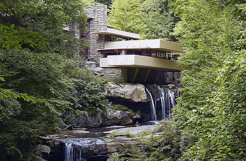 Fallingwater: The house was designed by Wright in 1935. The house was built partly over a waterfall in Pennsylvania USA.
