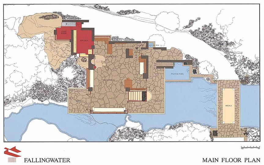 Fallingwater: A floor plan of the house showing the layout including the plunge pool next to the building.