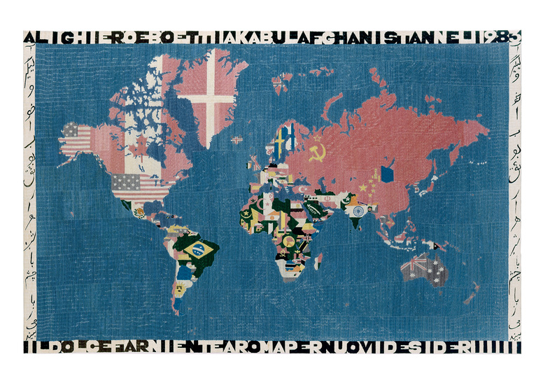 Europa ‒ Where it has been & Where it is at: Alighiero Boetti, Mappa, 1983 Wool on cotton, 116 x 178 cm. Migros Museum of Contemporary Art collection, photo: Peter Schälchli, Zurich © 2015 ProLitteris, Zurich