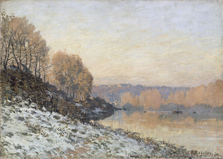 Monet and the Birth of Impressionism: Alfred Sisley (1839–1899), The Seine at Bougival in winter, 1872, Oil on canvas, 46 x 65 cm Palais des Beaux Art de Lille Photo: bpk : RMN - Grand Palais : René-Gabriel Ojéda