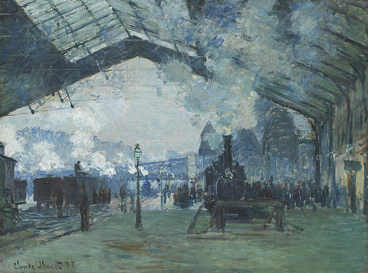 Monet and the Birth of Impressionism: Claude Monet (1840-1926), Saint-Lazare Station, Arrival of the Normandy Train, 1877, oil on canvas, 60,3 x 80,2 cm. The Art Institute of Chicago © Mr. And Mrs. Martin A. Ryerson Collection, The Art Institute of Chicago