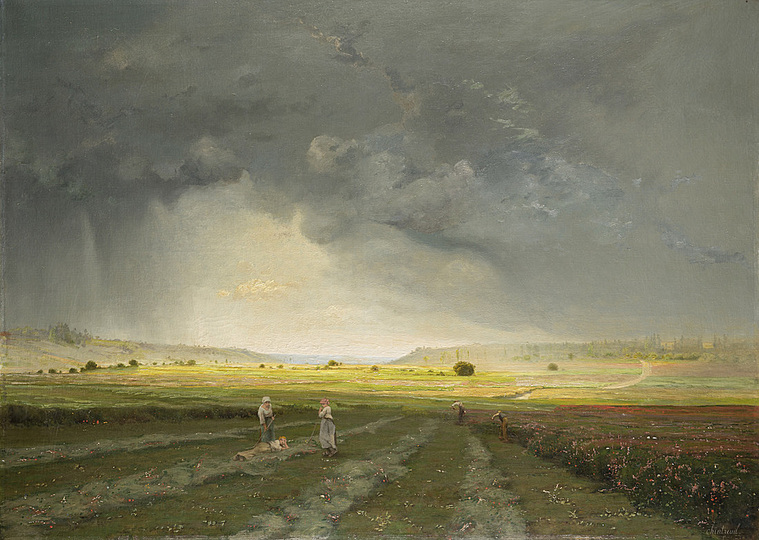 Monet and the Birth of Impressionism: Antoine Chintreuil (1814-1873), Landscape with Sunlight and Rainclouds, 1870, oil on canvas, 96 x 133,5 cm. Städel Museum, Frankfurt am Main. Photo: Städel Museum - ARTOTHEK. Städel Museum, Frankfurt am Main / Property of Städelscher Museums-Verein e.V.