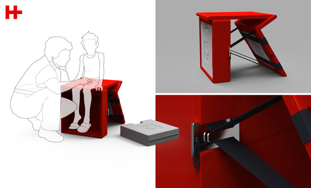 Design for Disaster: Healing Bench can be used as a first aid medical treatment stool or an emergency operating bed.