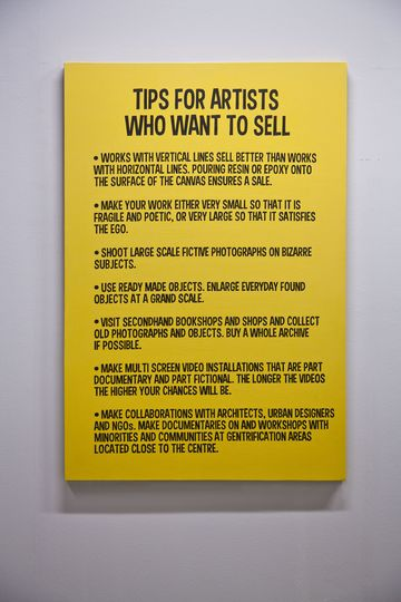 Who the f*** is Halil Altindere?: Tips for artists who want to sell (after Baldessari), 2012, Acrylic on canvas, 150 x 100 cm., Courtesy the artist and Pilot, Istanbul.
