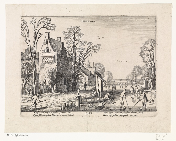 The Joys of Ice Skating: Winterlandschap met kolfspelers op het ijs: januari, Jan van de Velde (II), 1608 - 1618