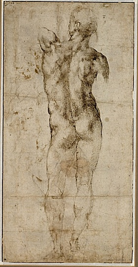 High Renaissance: Michelangelo Buonarroti (1475-1564), Standing Nude Man, Seen from Behind (recto), 1501-1504, Pen and brown ink, 38,7 x 19,5 cm
