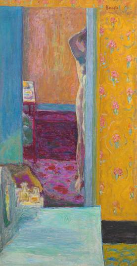 Pierre Bonnard: The Memory of Colors: Figure in an Interior, circa 1935, Nu dans un intérieur, oil on canvas, 134 × 69,2 cm  National Gallery of Art, Washington, Collection of Mr and Mrs Paul Mellon