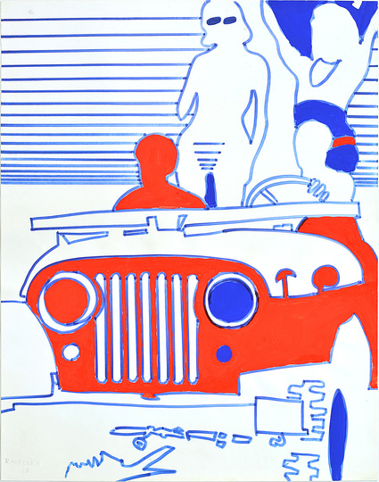 German Pop: Reinhold Heller, Auto, 1968, Felt-tip pen on paper,  51.5 x 40.6 cm. Sammlung Margit Heller Photo: © Franz Heller