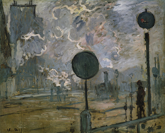 Monet and the Birth of Impressionism: Claude Monet (1840–1926), Exterior of Saint-Lazare Station (The Signal), 1877, Oil on canvas, 65.5 x 82 cm. Niedersächsisches Landesmuseum Hannover Photo: Landesmuseum Hannover – ARTOTHEK