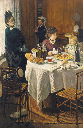 Monet and the Birth of Impressionism: Claude Monet (1840-1926), The Luncheon, 1868, oil on canvas, 231,5 x 151 cm. Städel Museum, Frankfurt am Main. Photo: Städel Museum – ARTOTHEK © Städel Museum, Frankfurt am Main
