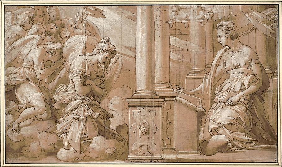 High Renaissance: Rosso Fiorentino (1494-1540), The Annunciation, c. 1531-1532, Pen and brown ink, heightened with white, 25,7 x 44,1 cm