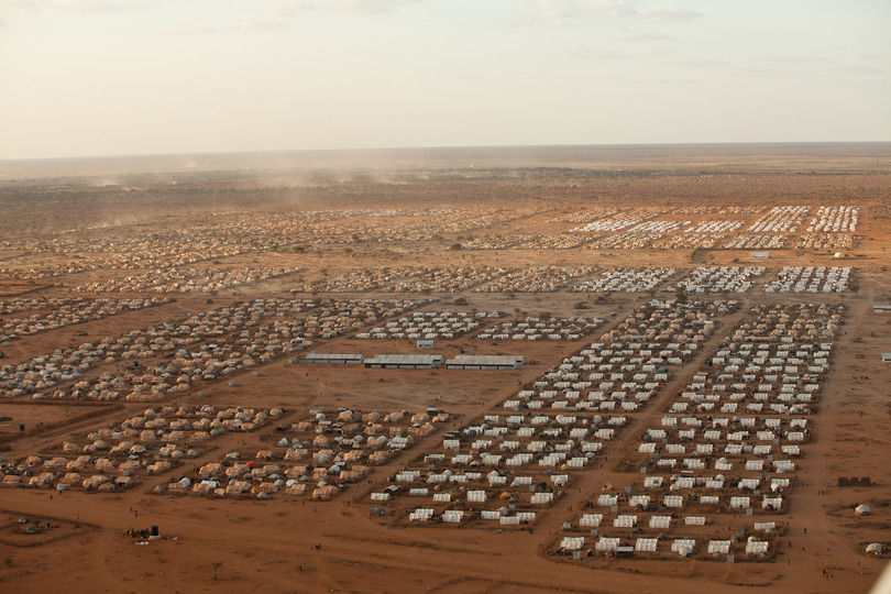 Design for Disaster: Ifo 2, Dadaab Refugee Camp. Brendan Bannon. 2011. Courtesy: Insecurities: Tracing Displacement and Shelter, MoMA.