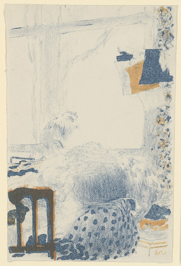 Édouard Vuillard: Turn of the Century Paris: Édouard Vuillard, La Couturière (The tailor), 1893/94, Lithographie in two colours (Blue and Orange), 256 × 164 mm (sheet size, irregular) © Staatliche Graphische Sammlung München