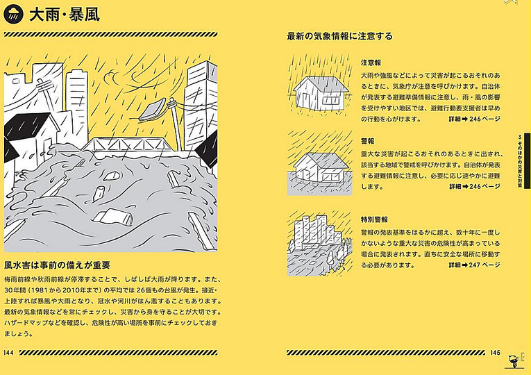 Design for Disaster: Inside pages of <Tokyo Bousai> disaster preparedness guide explaining readers how to handle when heavy rain and strong wind disasters strike.