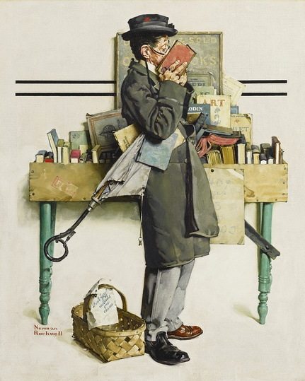 American Modern Paintings at Sotheby´s: Property from The Warshawsky Collection. Norman Rockwell, Man With Nose In Book (The Bookworm) (1926).