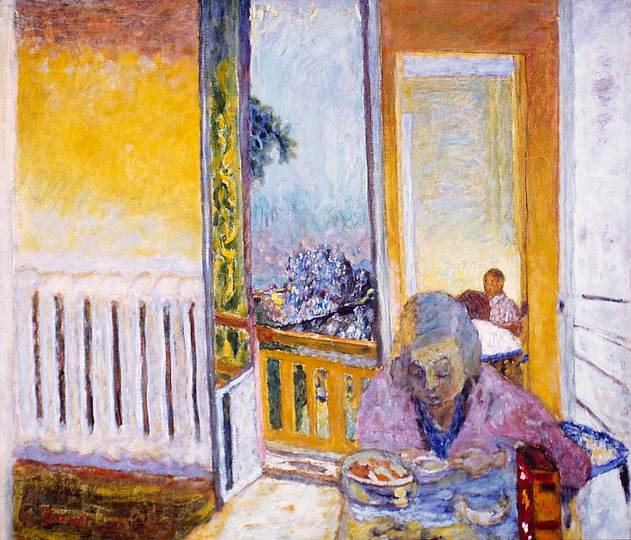 Pierre Bonnard: The Memory of Colors: The Breakfast near a Warmer, circa 1930, Le petit dejeuner au radiateur, oil on canvas, 64,1 × 73,8 cm Private Collection
