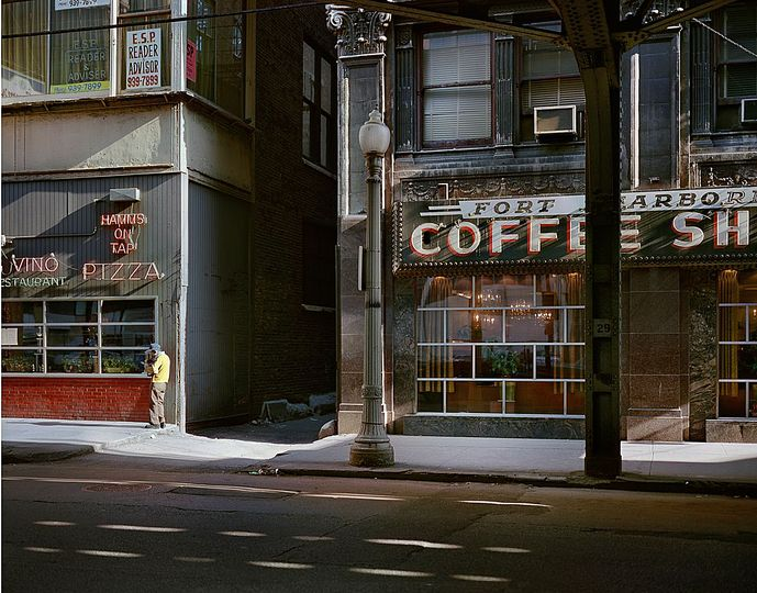 Wayne Sorce:  Urban Color: Fort Dearborn Coffee, Chicago, 1977