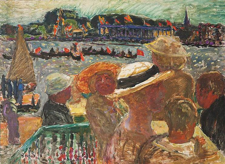 Pierre Bonnard: The Memory of Colors: Festival on the Water, 1913  La fête sur l'eau, oil on canvas, 73 × 100,3 cm  Carnegie Museum of Art, Pittsburgh. Purchased through the generosity of Mrs Alan M. Scaife
