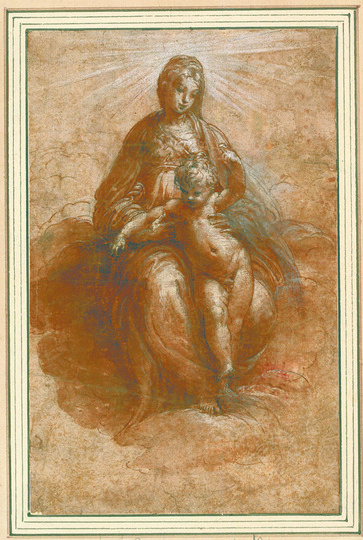 High Renaissance: Parmigianino (1503-1540), The Virgin, Enthroned on Clouds, with the Christ Child between her Knees, 1526-1527,  Pen and brown ink, heightened with white, 20,4 x 13 cm