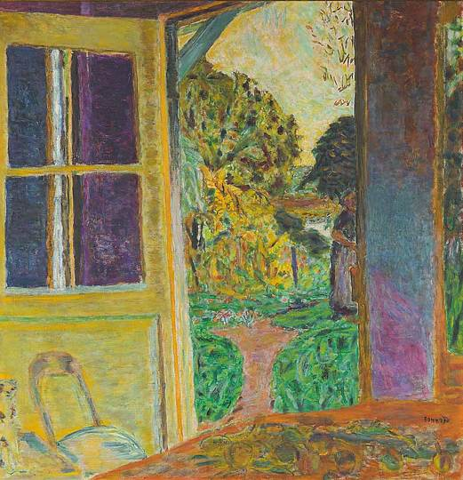 Pierre Bonnard: The Memory of Colors: An Open Door to the Garden, circa 1924, La Porte ouverte sur le jardin, oil on canvas, 109 × 104 cm. Private Collection, Courtesy Jill Newhouse Gallery, New York