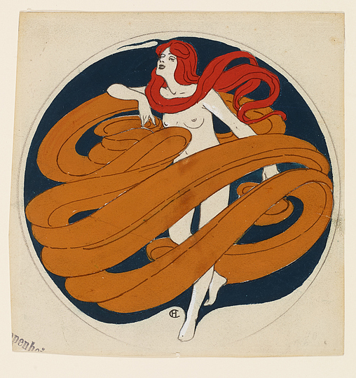 Hans Christiansen´s Jugendstil: Woman with swirling band in  circle, Sketch for chocolate boxes, 1898/1899, Museumsberg Flensburg.