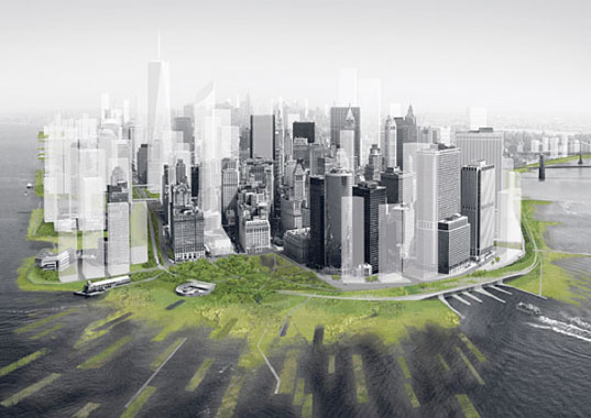 Design for Disaster: A proposal for <Rising Currents> exhibition at MoMA, New York. Architecture Research Office and dlandstudio's New Urban Ground transforms Lower Manhattan with an infrastructural ecology. Courtesy Architecture Research Office and dlandstudio