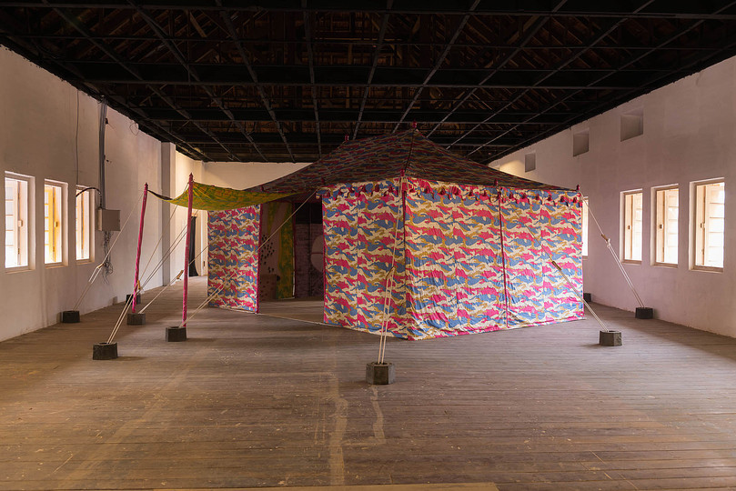 Kochi Biennale 2014: Francesco Clemente's Pepper Tent at Aspinwall House.
