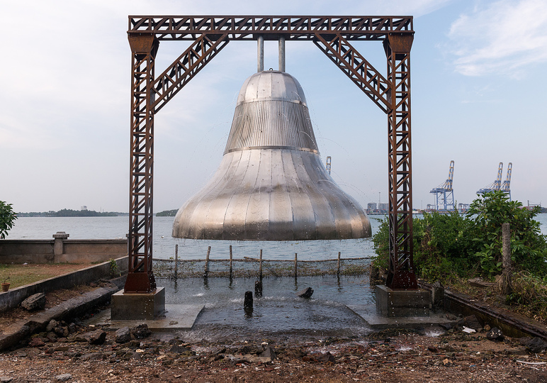 Kochi Biennale 2014: Gigi Scaria's stainless steel bell installation titled 'Chronicles of The Shores Foretold' at Pepper House, Fort Kochi