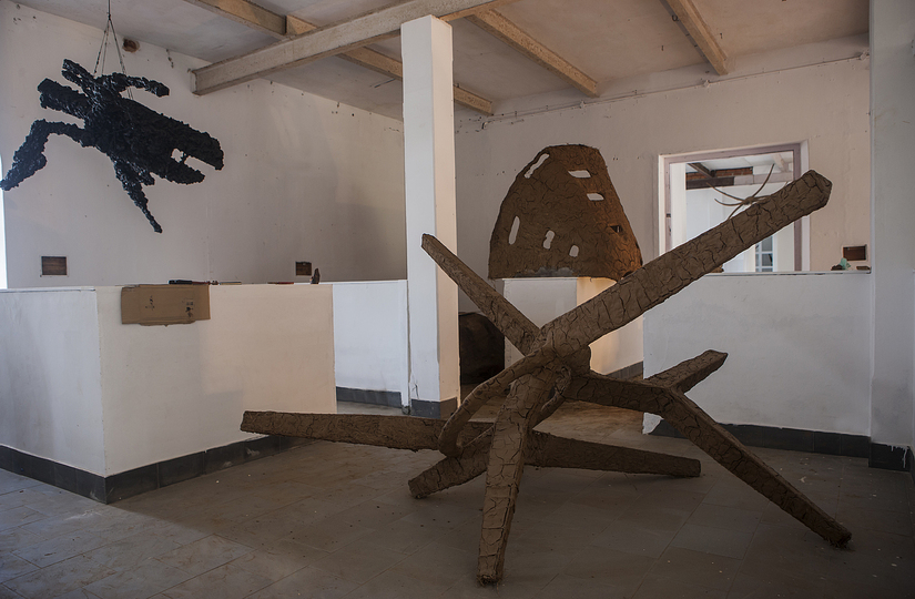 Kochi Biennale 2014: Sahej Rahal's 'Harbinger' installed at Aspinwall House, Fort Kochi. The artist has used clay, polyurethane, hay, found objects.