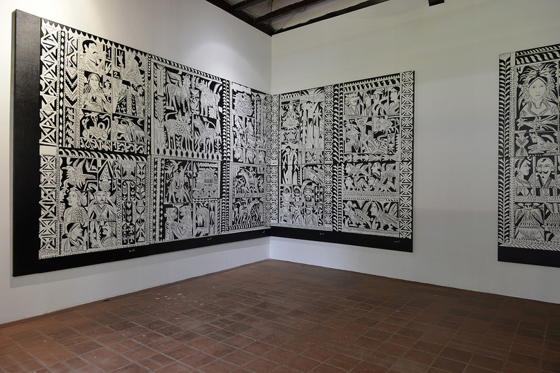 Kochi Biennale 2014: K G Subramanyan's 'War of the Relics' installed at David Hall, Fort Kochi. The artist has used acrylic on canvas (16 panels- 9ft X 36ft overall)