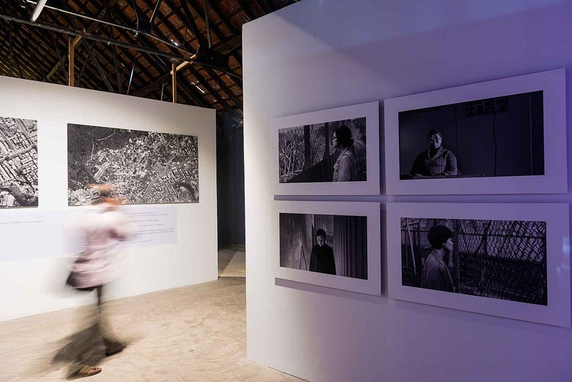Kochi Biennale 2014: Chen Chieh-jen's 'Realm of Reverberation' at Aspinwall House, Fort Kochi. Four-channel video installation, black and white, sound  23 minutes each.