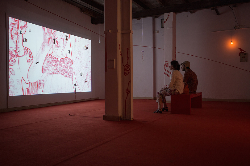 Kochi Biennale 2014: Mithu Sen's video installation based on a performance titled 'I have only one language; it is not mine' at Aspinwall House, Fort Kochi.
