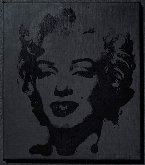 Sturtevant Double Trouble: Sturtevant. Warhol Black Marilyn. 2004. Synthetic polymer silkscreen and acrylic on canvas. 15 15/16 x 13 7/8 in. (40.5 x 35.2 cm). Ringier Collection, Switzerland. Courtesy Anthony Reynolds Gallery, London. © Estate Sturtevant, Paris