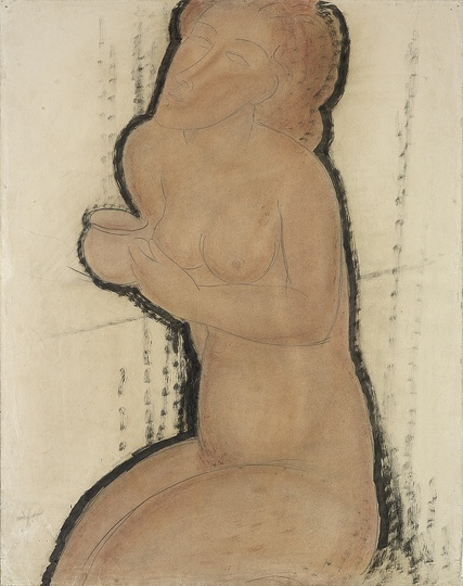 Modigliani: Your real duty is to save your dream: Nude with Cup c.1916 Watercolour, Indian ink and pencil 64.5 x 50 cm Courtesy: Estorick Collection.  Modigliani's drawing is supremely elegant. He was our aristocrat. His line, sometimes so faint it seems the ghost of a line, never gets bogged down, avoiding this with the alacrity of a Siamese cat. Modigliani never consciously stretches faces, exaggerates their lack of symmetry, gouges out an eye or lengthens a neck. All that happens in his heart. That's the way he used to draw us, ceaselessly, at the Rotonde. That's the way he judged us, experienced us, loved us and argued with us. His drawing was a silent conversation. A dialogue between his line and ours. And from this tree, planted so firmly on velvet legs, so difficult to uproot once it had taken root, the leaves fell and were strewn all over Montparnasse. If his models ended up by looking like one another, this is in the same way that Renoir's models all look alike. He adapted everyone to his own style, to a type that he carried within himself, and he usually looked for faces that bore some resemblance to that type, be it man or woman. This resemblance is so pronounced in Modigliani's work that, as with Lautrec, it becomes self-evident and strikes those who never knew the models. But the resemblance is only a pretext through which the artist affirms his own identity. Not his physical identity, but the mysterious identity of his genius. Modigliani's portraits, even his self-portraits, reflect his internal, not external, line; his noble, keen, slender, dangerous grace, like the horn of a unicorn. In addition I would like to repeat that Modigliani did not paint portraits to order. His drunkenness, his growling and roaring, his unwonted laughter – he exaggerated all these to protect himself from importune bores whom he then insulted by his arrogance. At the end of his short life, he set to work on a stream of nudes and female figures that is now flowing into museums all over the world. Others will write of his aesthetics. Here I want to give precedence to the artist and his works, in which all the proud individuality of his nature is expressed. Jean Cocteau
