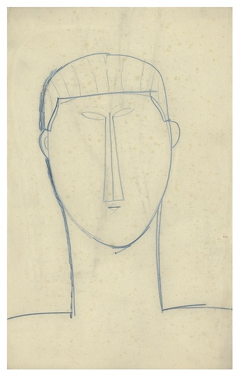 Modigliani: Your real duty is to save your dream: Male Head & Shoulders c.1911 Blue crayon 42.8 x 26.7 cm Courtesy: Richard Nathanson, London. The elemental simplicity and continuing mysterious beauty and power of the Head of an Idol, some 4000 years after its creation, would have profoundly inspired Modigliani. Whilst this drawing cannot be considered a direct study for Modigliani's Sculpture Head in the Gwendolyn Weiner Collection it can be related to it by the closeness of the tightlyset eyes, the tiny compressed mouth, small ears, swept-back hair, curved lower jaw and chin, and elongated neck.