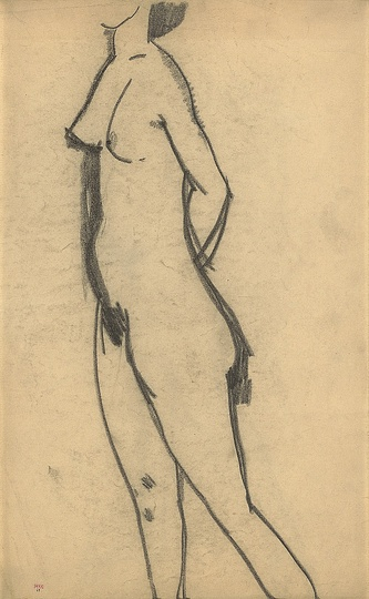 Modigliani: Your real duty is to save your dream: Standing Nude 1908 Black crayon 43 x 26.7cm Courtesy: Richard Nathanson, London