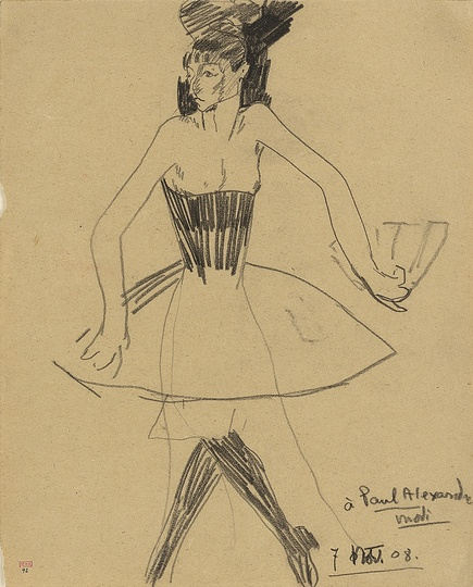 Modigliani: Your real duty is to save your dream: Columbine with Fan and wearing a Tutu 1908 Black crayon 31 x 24.3cm Courtesy: Richard Nathanson, London