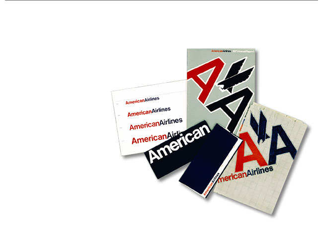 Massimo Vignelli 1931-2014: American Airlines Corporate Identity, 1967. The eagle image was later added at the request of the the client American Airlines.
