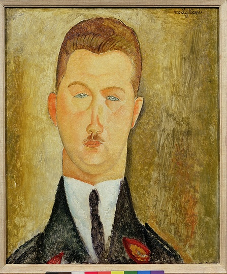 Modigliani: Your real duty is to save your dream: Dr François Brabander 1918 Oil on canvas 46 x 38cm Courtesy: Estorick Collection.  Modigliani retained an abiding love for Italy, yet from 1906 he spent very little time there. The yellow ochres, burnt siennas and venetian reds used in many of his later paintings – Dr Brabander among them – reflect, subconsciously perhaps, the beautiful, often faded colours of sun-bleached buildings remembered from his native land. Dr François Brabander (Franciszek Brabander) was born in Krakow in 1887. He moved to Paris around 1910 to study medicine. He married Sophie Sierzpowska, a fellow Pole studying law at the Sorbonne and sister of Anna Zborowska, wife of Leopold Zborowski who later became Modigliani's dealer. Both Anna and Leopold modelled for several portraits. At the outbreak of war, Dr Brabander volunteered as a doctor at the front and his wife as a field hospital nurse. During short leaves from the horrors of the front, Dr Brabander visited the Zborowski's in Nice. There, in 1918, Modigliani, painted him in his military jacket. Dr Brabander qualified as a doctor in 1919 and because of his valiant war contribution was granted French citizenship. He practiced in Paris and in the mining town of Lens, 200 km north of Paris, where he cared for the Polish miners. He and Sophie had two children and lived happily in Paris until the German occupation in 1940. After unsuccessfully attempting to escape with his family to London, he joined the French and Polish French resistance (his unit being codenamed 'Monika'). In September 1943, he, and his family were arrested. His wife and daughter were transported to Auschwitz where they perished in 1943. He was sent to Sachsenhausen concentration camp in Germany, working as a doctor in the cellulose factory, one of the camp's numerous manufacturing units. In April 1945, many prisoners were moved to Bergen-Belsen where Dr Brabander died the following month. His son Romuald survived; and commemorated his family with a white marble grave stone. It lies next to the graves of Leopold and Anna Zborowski, in the Paris cemetery of Père-Lachaise where Modigliani is also buried.