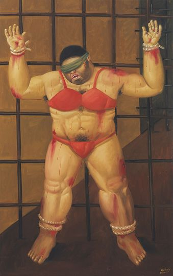 Fernando Botero: Fernando Botero Abu Ghraib 47, 2005, Oil on canvas, 180 x 114 cm. University of California, Berkeley Art Museum and Pacific Film Archive, Gift from the artist © Fernando Botero