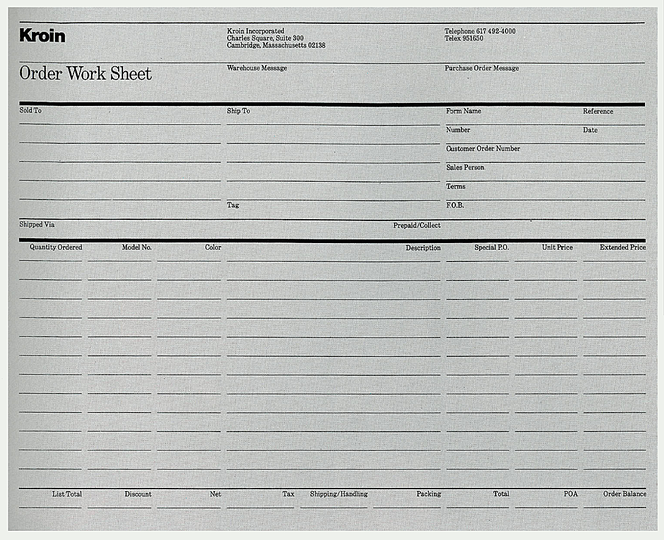 Massimo Vignelli 1931-2014: Kroin Work Order Sheet, 1985. Vignelli worked heavily with various types of grids and lines.