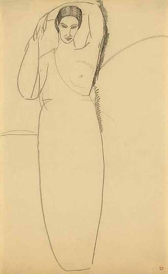 Modigliani: Your real duty is to save your dream: The lyrical, ballet-like pose of the left arm curved around the top of the head, and biblical quality of the figure suggest Modigliani might initially have imagined her as a 'Rebecca at the Well' like figure resting a vase upon her head. Such a pose would have unbalanced this regal figure and diminished her statuesque grace – hence perhaps her very unusual, vase-shaped torso. During his formative studies in Italy, Modigliani would have studied Della Quercia's portrayal of divine feminine grace which perhaps influenced this drawing.
